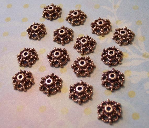 Antique Gold Bead Caps Ornate Filigree Bead Caps..16.. 11mm