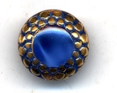 Moonglow Glass Buttons 1940s COBALT BLUE Sets of 5  With Gold Luster  1/2 inch size 8782