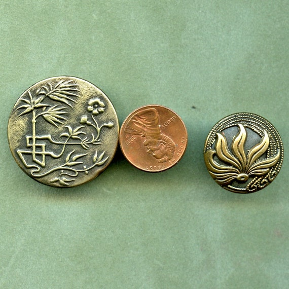 Two 2  Antique Victorian Brass FLORA and FAUNA Buttons Asian 6737o