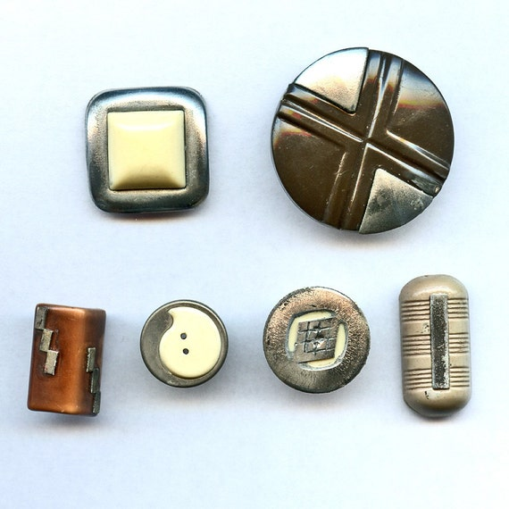 Art Deco Buttons ALMOST FREE Lot of 6 Vintage  with CHROME Embellishments Various Sizes and Shapes 7103