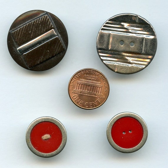 ART DECO  Buttons with Chrome Embellishment Lot of 4  Antique 1930s  different colors and Sizes 7352
