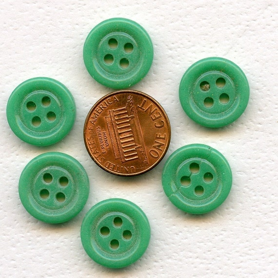 FROM PARIS Set of 11 GREEN Vintage Antique China Buttons  5/8 inch size  7428