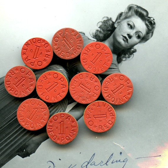 Red Ration Tokens Lot of 10  OPA  Tax Tokens FUN STUFF MoRE AVAlLABLE