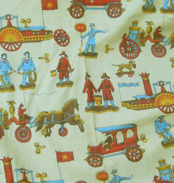 RESERVED for vintageblessings Vintage 1950s or 1960s ANTIQUE FlRE ENGINES Firemen 5 yards