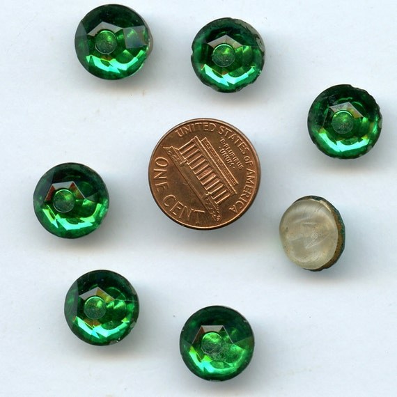GREEN MIRROR BACK Buttons Glass  Vintage Matching Set of  7  with Applied  Glass Shank  1/2 inch size 7667