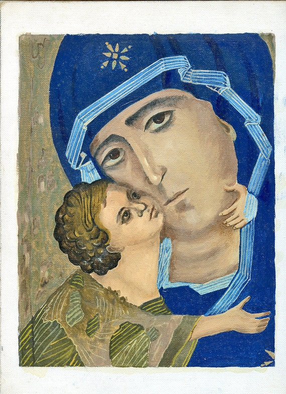 Vintage Painting Religious Mother of God Madonna and Child Mary ORIGINAL ART