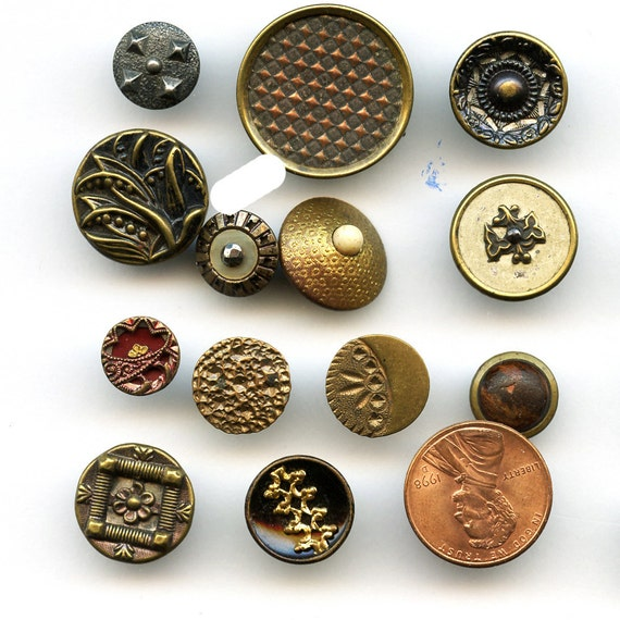 Lot of Victorian  Metal Buttons Wholesale Bakers Dozen  13 Small Antique MORE AVAILABLE 8036