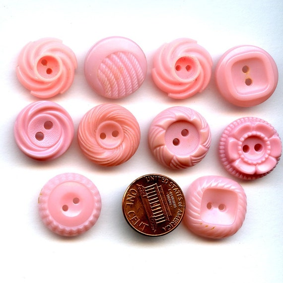 Lot of  10 1940s Dress Buttons PINK Different Designs  3\/4 inch  size 5669