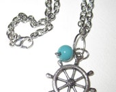 Nautical Wheel and Blue Beads Necklace
