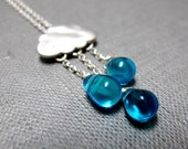 "Raindrops Keep Falling Necklace // Various Blue Teardrop Glassbeads // 17"" Silver Chain // Inspired by a Rainy Day"
