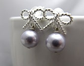 Silver Twisted Ribbon with Pearls Stud Earrings // Silver Twisted Bow // Lavender Swarovski Pearls // Bridal Earrings // Gift under 20