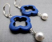 Good Luck Clover Earrings . Blue Quatrefoil Clover with White Pearls (Only Piece)