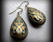 CLEARANCE - Antique Brass Lace Drops Earrings // Brass Acrylic Teardrop Beads // Brass Earrings under 15