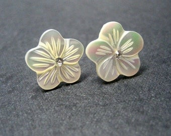 Cherry Blossom III Stud Earrings // White Mother of Pearl Carved Flowers // Rhodium Posts // Bridal Earrings //  Gifts under 20