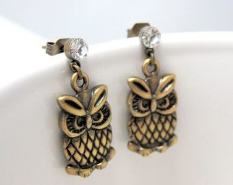 Owls Charm Stud Earrings // Brass Owl Charms // Rhinestone Stud Posts // Brass Earrings // Gifts under 20