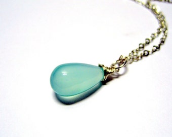 "Little Aqua Teardrop Necklace // Smooth Aqua Chalcedony Full Teardrop Gemstone // 16"" Sterling Silver 925 Chain"