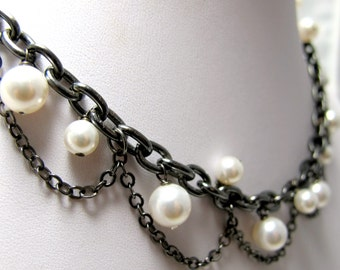 "Snow White Gone Rock Necklace // White Swarovski Pearls // 17"" Gunmetal Chunky Chain //  Dramatic Necklace"