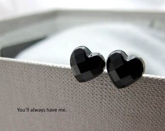 Little Black Hearts Stud Earrings // Black Heart Rhinestones // Rhodium Posts // Valentine Gift under 10