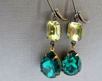 Lemon Lime Drops Vintage Glass Earrings // Pale Yellow and Emerald Green Vintage Glass Brass Encased // Last Piece
