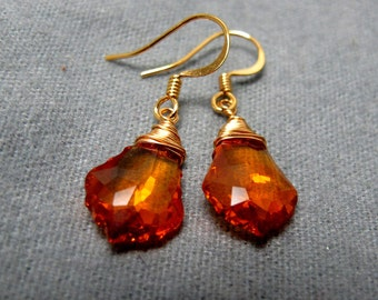 Sunset Topaz Crystal Wire Wrapped Earrings // Topaz Swarovski Crystal Baroque // Gold Plated Wire Wrapped // Bridal Earrings