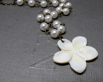 Wedding Frangipani Pearl Necklace // Bridal Necklace // White Shell Flower // White Swarovski Pearls