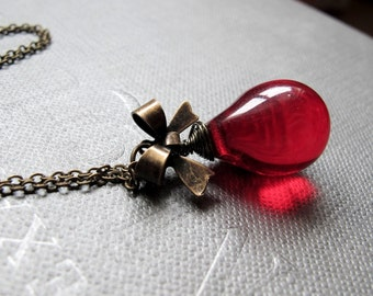"""A Drop of Red Necklace // Red Czech Glass Full Teardrop // Brass Ribbon Bow // 17"""" Brass Chain"""