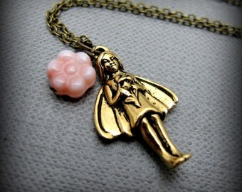 """My Fleur Fairy Necklace // Brass 3D Solid Fairy Charm with Great Detail // Peach Flower Glassbead // 17"""" Brass Chain"""