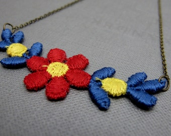 "Blue Red and Yellow Flowers Necklace // Red Blue Yellow Embroidery Flowers // 17"" Brass Chain // Gift under 20"