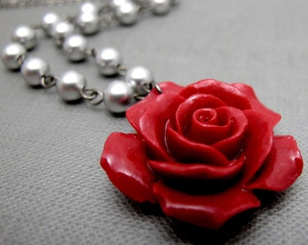 "Bridal Red Rose Necklace // Deep Red Acrylic Rose // Light Grey Swarovski Pearls // 17"" Gunmetal Chain"