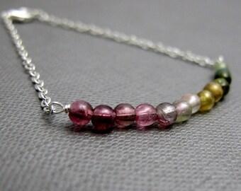 "Watermelon Tourmaline Bracelet // Rainbow Tourmaline Gemstones // 7"" Silver Chain Bracelet // October Birthstone"