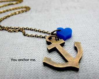 "Brass Anchor with Love Nautical Necklace // Brass Anchor Charm // Tiny Blue Acrylic Heart // 17"" Brass Chain"