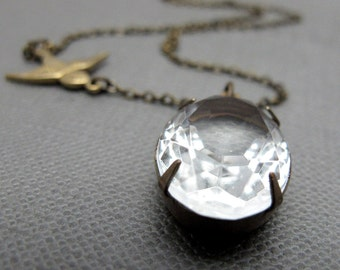 "Sparrow and the Crystal Vintage Glass Necklace // Clear Vintage Glass Brass Encased // Brass Sparrow Charm // 17"" Brass Chain"