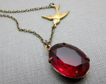 "Sparrow and the Ruby Vintage Glass Necklace // Red Vintage Glass Brass Encased // Brass Sparrow Charm // 17"" Brass Chain"