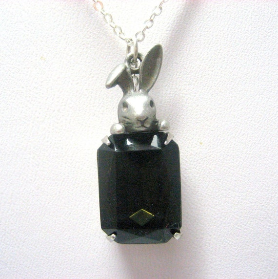 """Peek-a-boo Rabbit in Smoky Quartz Necklace // Vintage Glass Silver Plated Encased // Alice in Wonderland inspired // 17"""" Silver Chain"""