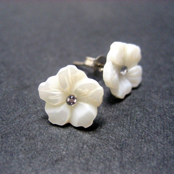 Cherry Blossom II Stud Earrings // White Mother of Pearl Craved Cherry Blossoms // Rhinestone Center // Rhodium Posts // Gift under 20