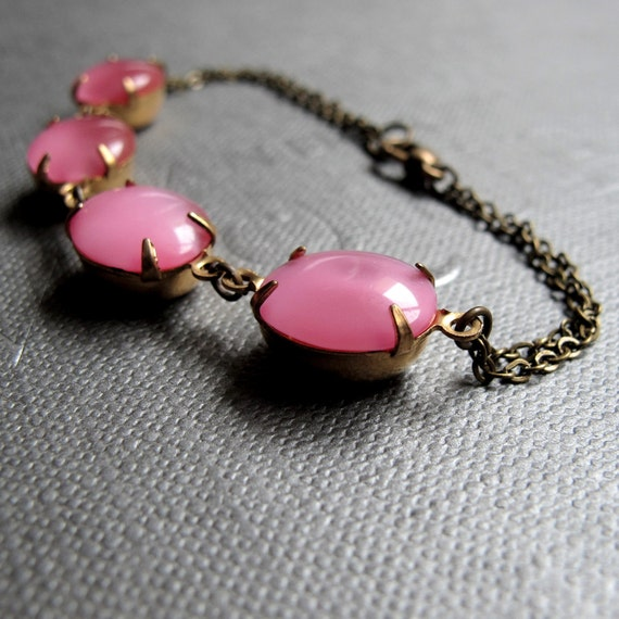 "Pink Memories Bracelet // Vintage Pink Moonstones Gemstones Brass Encased // 7"" Brass Chain"