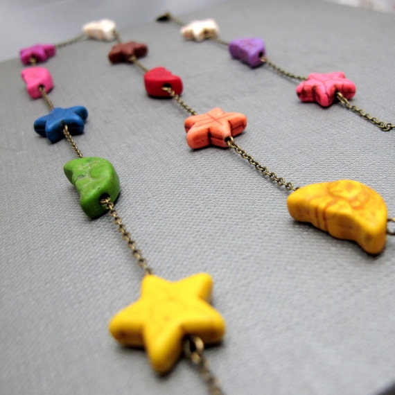 "Moon and Star Necklace // Multi-Color Moon and Stars Howlite Gemstones // 31"" Brass Chain Necklace"