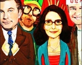 Ode to 30 Rock ... Liz Lemon and her work family ... print by elloh