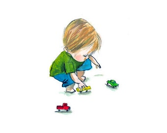 playing cars ... giclee art print... child • boy • toys • trucks • imagination • play • toddler • transportation • drawing • reproduction
