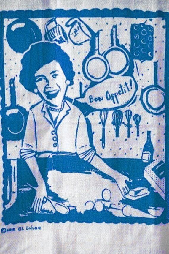 Ode to Julia Child and her favorite ingredient butter ... screenprinted kitchen towel ... blue version ... limited stock ... Bon Appetit