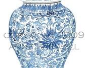 Blue and White GINGER JAR print 8x10