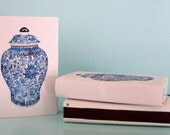 BLUE & WHITE GINGER Jar Matchboxes