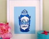 BLUE/AQUA WORCESTER Porcelain Jar Print