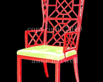 RED CHINOISERIE CHAIR on Black