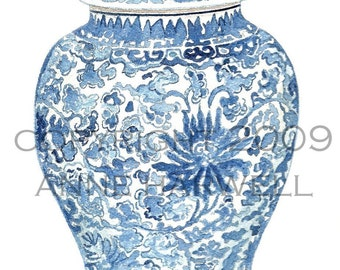 Blue and White GINGER JAR print 8x10