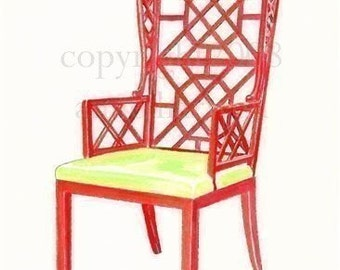 RED CHINOISERIE CHAIR Print