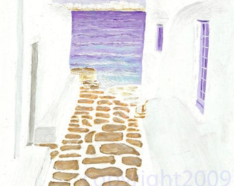 ALLEY VIEW - MYKONOS Print by Gray Harwell
