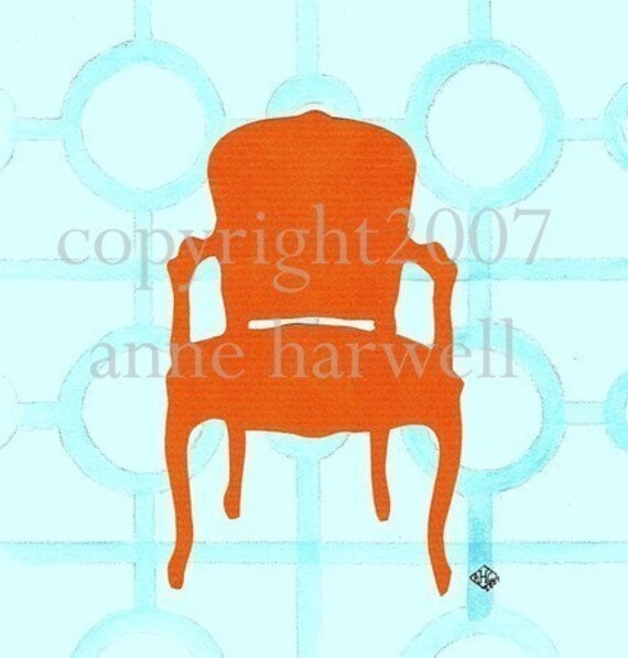 ORANGE CHAIR SILHOUETTE collage print
