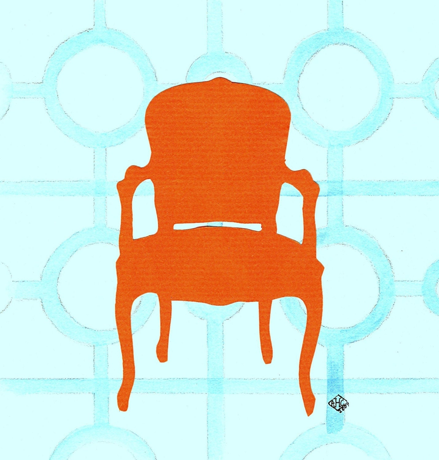 Antique chair silhouette - Chair Silhouette Orange Chair Silhouette Collage Card By Annechovie On