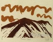 Mountains Clouds Heft linocut relief printmaking original art